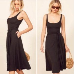 Reformation August Midi Dress in Black Size XS